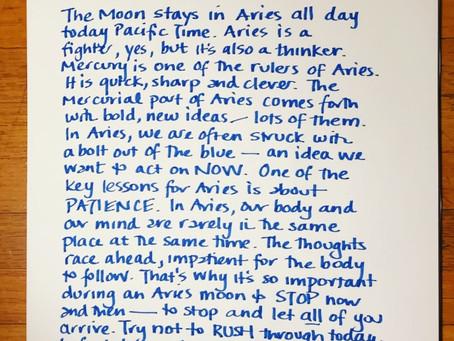 Moon Notes- November 2, Moon in Aries