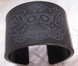 Black Skull and Roses Cuff