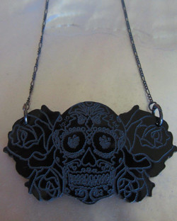 Black Skull and Roses Necklace