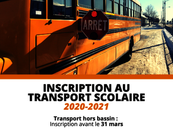 Inscription au transport scolaire pour l'année 2020-2021