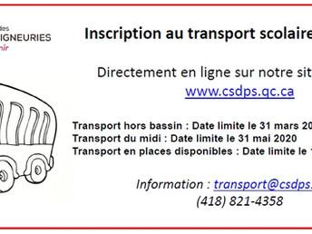 Inscription au transport scolaire 2020-2021