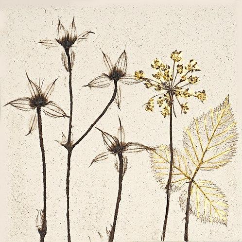 10cm Botanical Tile with 24ct Gold Leaf.  1/12