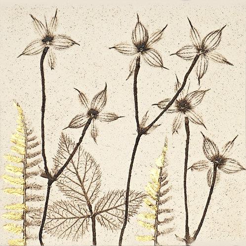 10cm Botanical Tile with 24ct Gold Leaf.  10/12