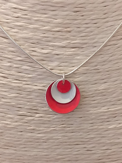 Red and White 3 Dome Necklace