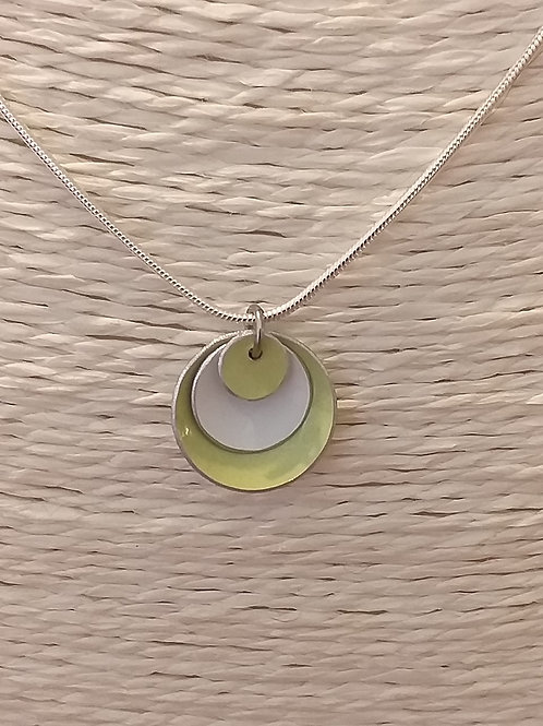 Green and White 3 Dome Necklace