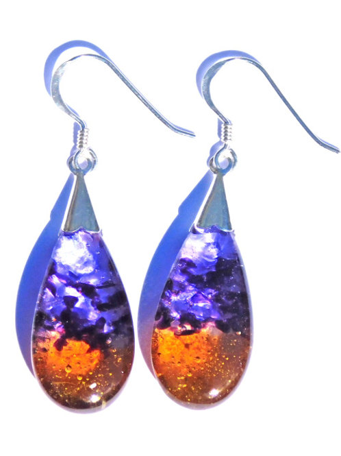 Hot Orange and Blue Droplet Earrings