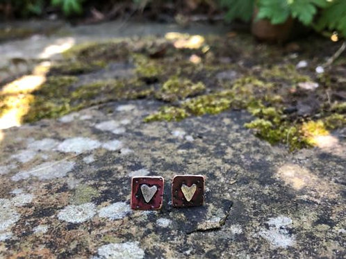 Copper and Silver Studs with Hearts