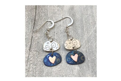 Silver Etched Earrings with Hearts