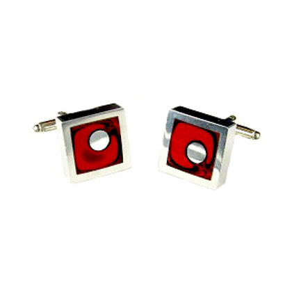 Cranberry Square Cufflinks
