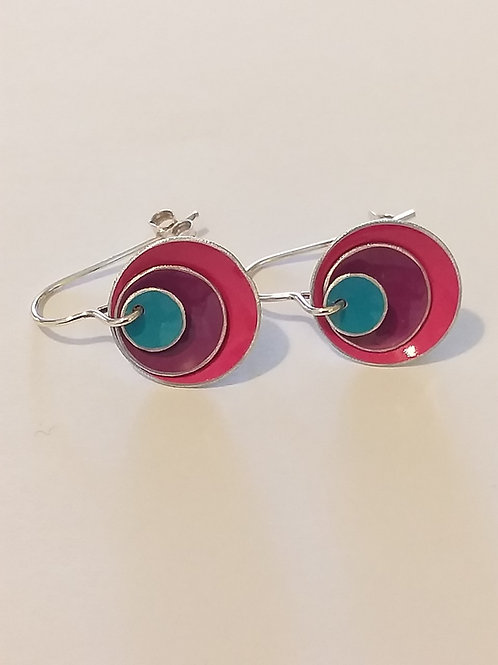 Pink, Purple and Blue 3 Dome Earrings