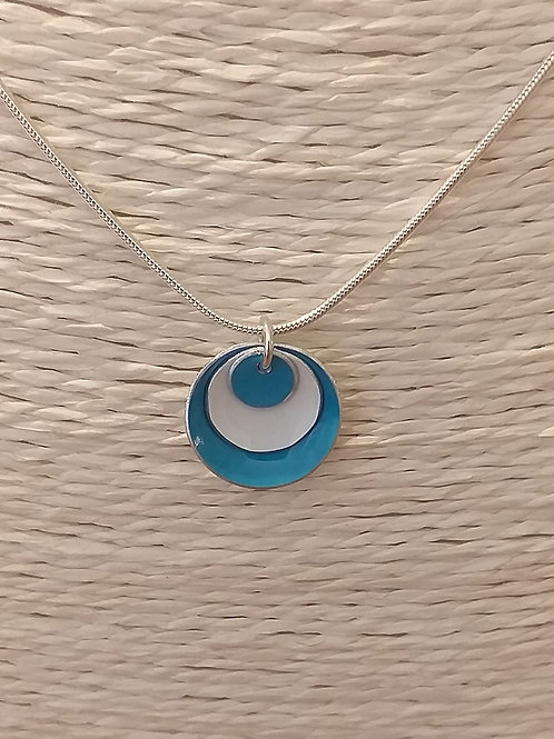 Blue and White 3 Dome Necklace