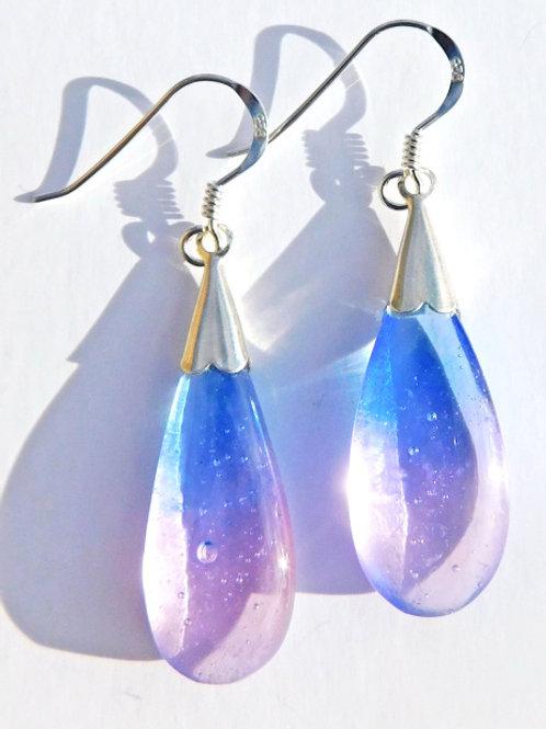 Light Blue and Purple Droplet Earrings