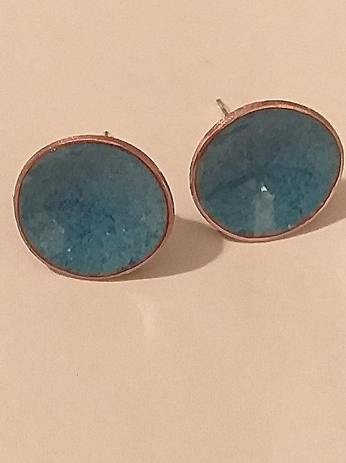 Blue Mix Enamel Bowl Stud Earrings