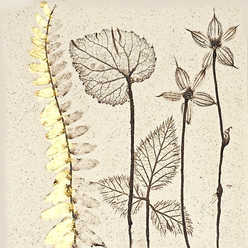 10cm Botanical Tile with 24ct Gold Leaf.  7/12