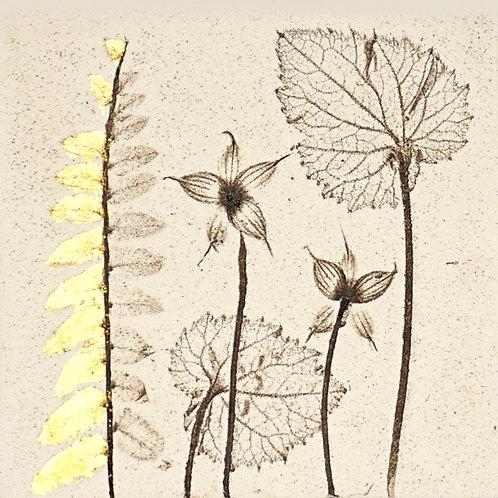 10cm Botanical Tile with 24ct Gold Leaf.  12/12