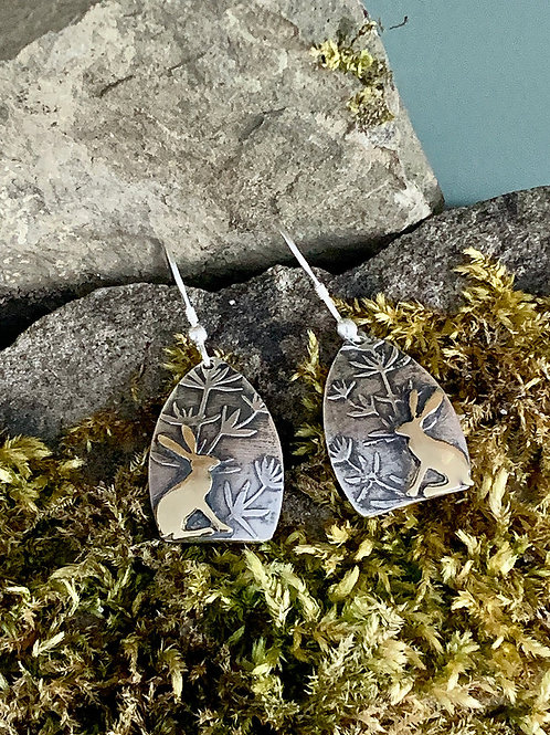 Sitting Hares with Plants Earrings