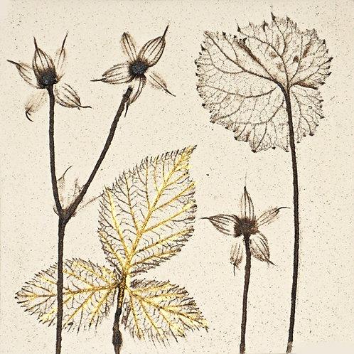 10cm Botanical Tile with 24ct Gold Leaf.  3/12