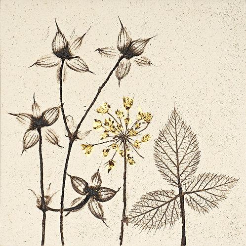 10cm Botanical Tile with 24ct Gold Leaf.  11/12