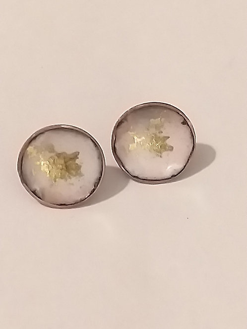 White and Gold Mix Enamel Bowl Stud Earrings