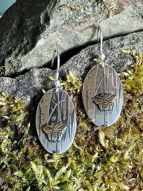 Oval Bee in the Woods Earrings