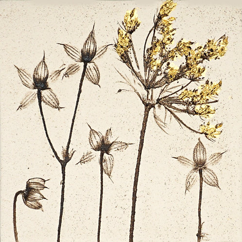 10cm Botanical Tile with 24ct Gold Leaf.  9/12