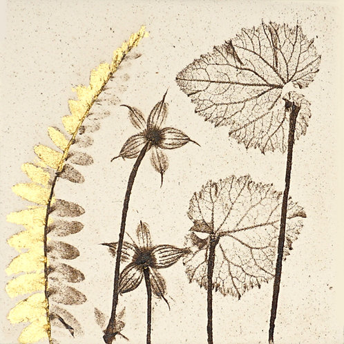 10cm Botanical Tile with 24ct Gold Leaf.  6/12