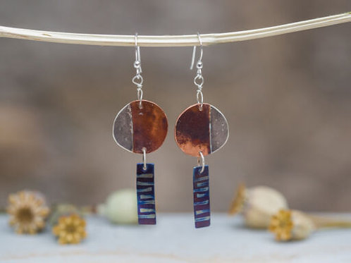 Circle and Drop Earrings
