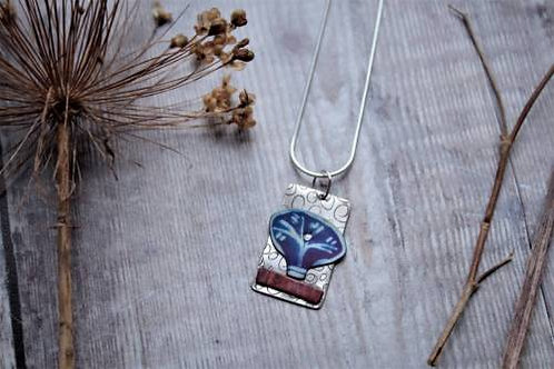Silver Etched Pendant with Tree