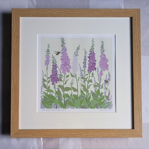 Foxgloves with Bee by Stephen Lennon