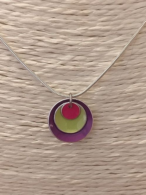 Purple Green and Pink 3 Dome Necklace