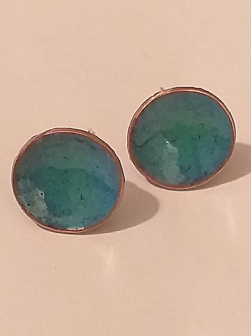 Green Mix Enamel Bowl Stud Earrings