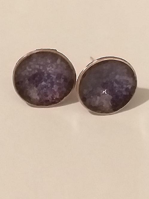 Purple Mix Enamel Bowl Stud Earrings