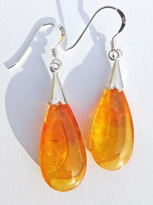 Hot Orange Droplet Earrings
