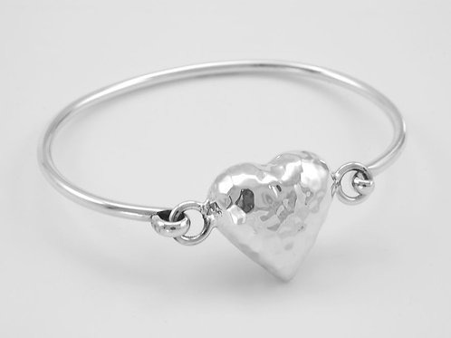 Hammered Heart Silver Bangle
