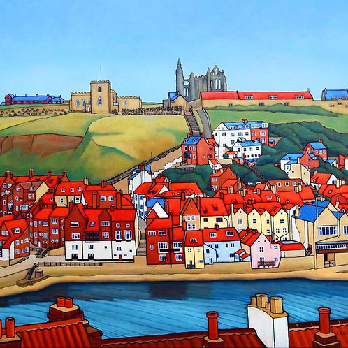 Red Roofs and The Steps by David Utting
