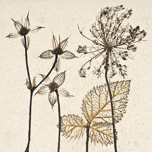 10cm Botanical Tile with 24ct Gold Leaf.  5/12