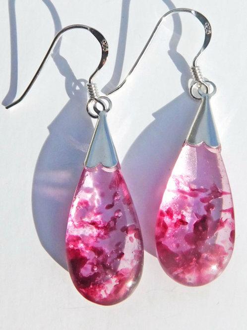 Deep Rose Droplet Earrings