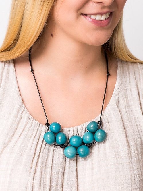 Cluster Necklace- Light Blue