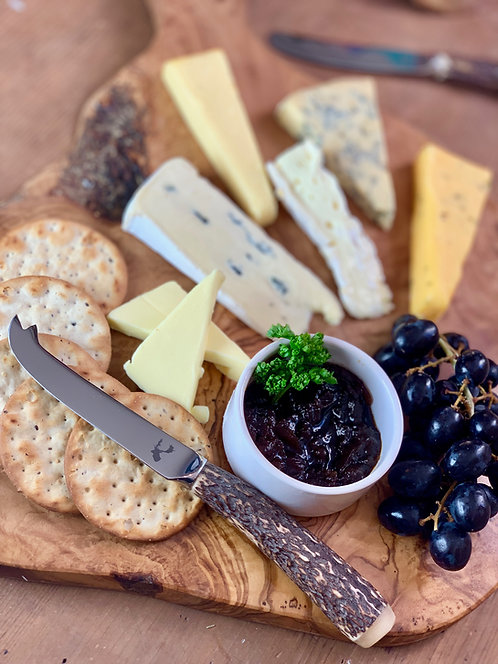 Red Deer Olivewood Serving Board,  Antler Butter & Cheese Knife Set