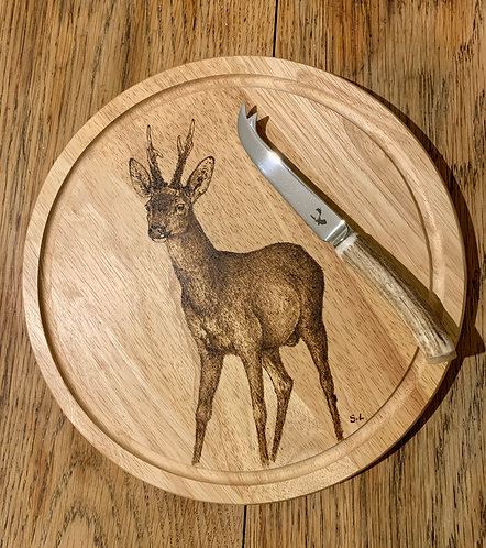 Roe Buck Engraved on a Cheese Board