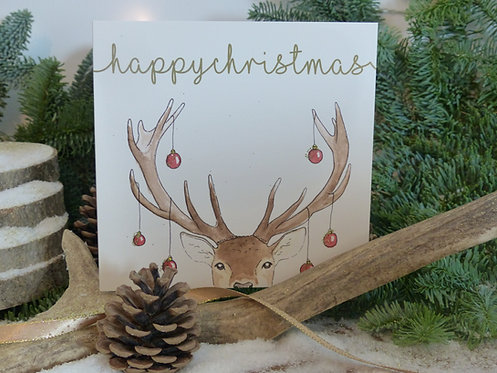 Christmas Card Red Stag