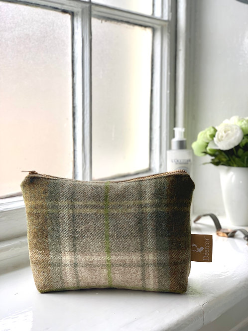 Luxury Tweed Cosmetic Bag Mustard