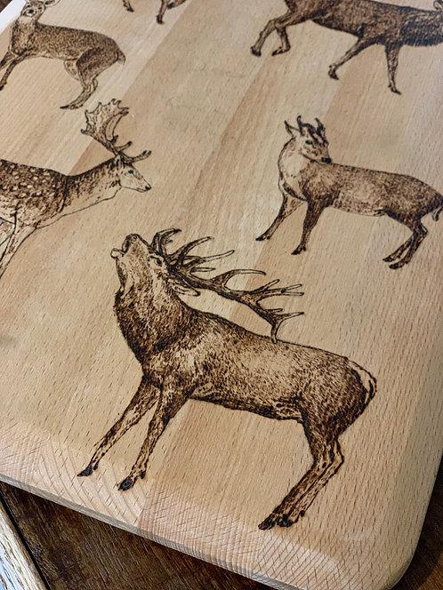 The Deer of Great Britain- Beech chopping board
