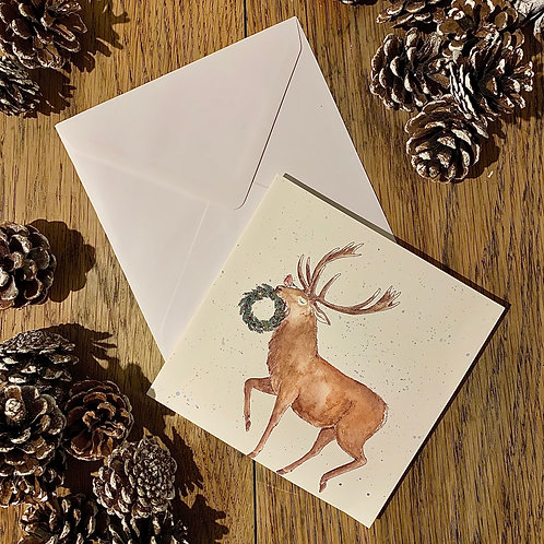 Gold Glitter Red Stag Christmas Card