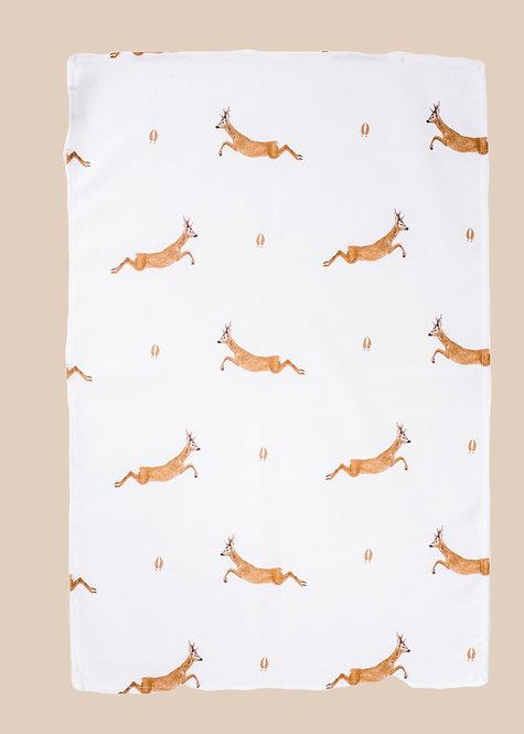 Jumping Roe Tea Towel