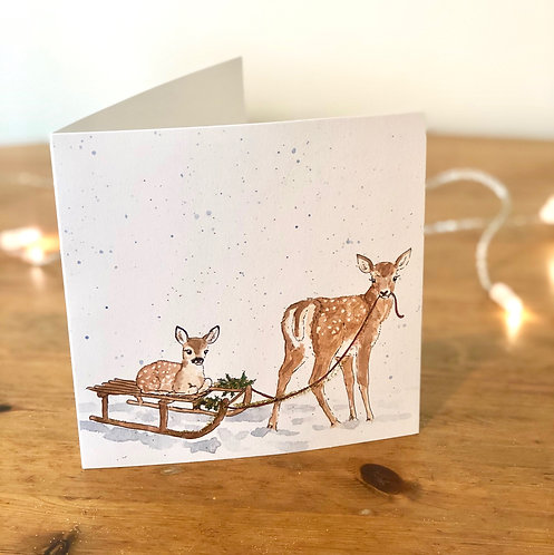 Gold Glitter Christmas Card Fawn & Calf
