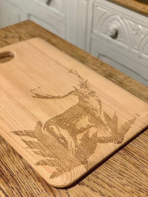 Fallow Buck Engraved on Beech