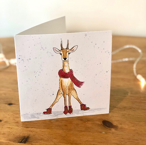 Gold Glitter Christmas Card Fallow Pricket