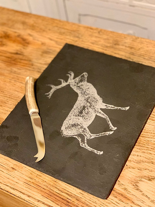 Set of 4 - Welsh Slate with Red Deer Engraving