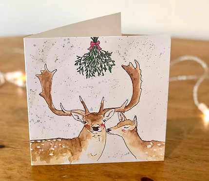 Gold Glitter Christmas Card Fallow & Mistletoe